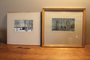 Pair of Hand Coloured Photographs of Northern Ontario - Signed