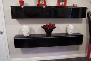 HOME THEATER STORAGE GLOSS BLACK MADE IN ITALY 2 UNITS