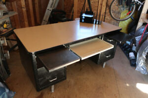 Metal Desk with drawers and pullout shelves