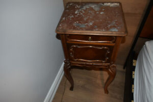 French antique Night table marble top porcelain drawer