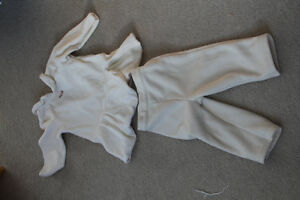 Girls soft white fleece dress / outfit size 9-12 months