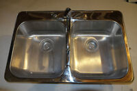 Blanco Double Kitchen Sink with Moen Faucet w/sprayer