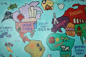 Kids Large World Canvas Painting Cambridge Kitchener Area image 2