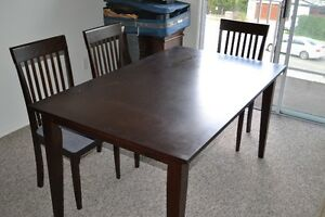 Dining table & three chairs