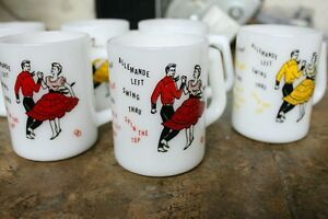 Federal Milk Glass mugs Square Dancing 4 yellow 2 red vintage Kingston Kingston Area image 9