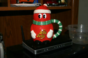 CERAMIC CHRISTMAS JELLY BELLY CANISTER & LID & PLASTIC ONE/TOYS