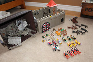 PLAYMOBILE castle and various pieces