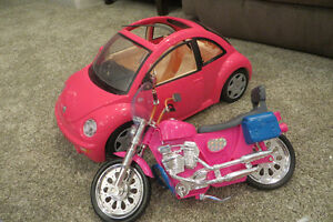 Barbie car and motorcycle.