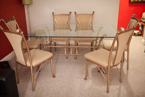 Beautiful Cast Iron Dining Table w/ wave Glass Top & 6 Chairs