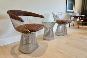 Knoll Vintage Warren Platner Arm Chairs and Side Table