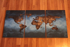 Blue World Map Panel Painting