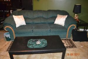 2 full size couches also a anitque chair and glass end table