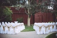 Polyester chair covers for rent $1 DIY white/ivory