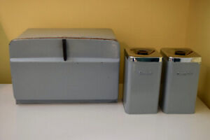 Vintage Metal Breadbox and Canisters
