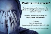 Participants needed: Writing treatments for post-trauma symptoms
