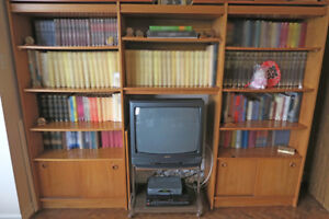 Teak Entertainment Unit with Bookcases and TV Hutch