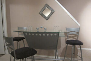 Glass/Metal Bar table and swivel bar chairs