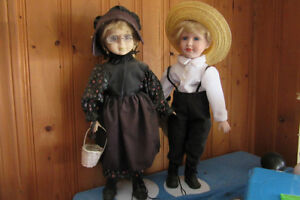 boy and girl Menonite dolls