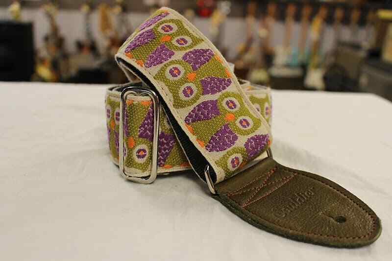 Souldier Guitar Strap Owls Purple w/ Olive Leather Ends *Fre