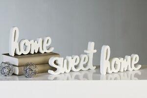 Schriftzug home sweet home 3-teiliges Set Holz weiß Landhausstil Deko NEU