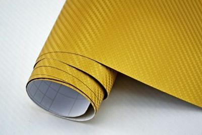 4,90€/m² 3D Carbon Folie gold - blasenfrei 2000 x 152cm Klebefolie Carbon Optik