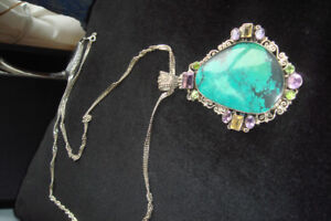 Navajo Sterling Silver Turquoise Large Pendant