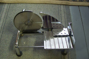 OLDER STAINLESS STEEL MANUAL MEAT SLICER MADE IN CANADA