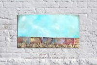Original Rustic Abstract Art Train and Sky Painting