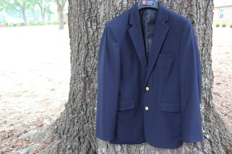 EUC Boys CHAPS Navy 8% Wool BLAZER JACKET Size 14R Regular Dress Suit Blazer