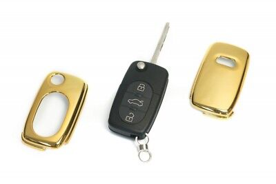 Audi Remote Flip Key Cover Case Skin Shell Cap Fob Protection Bag Hull Gold