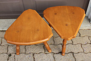 Pair of maple end tables and shelves