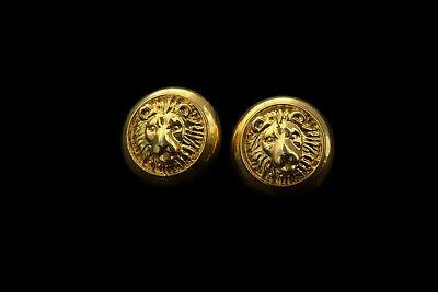 Vintage ANNE KLEIN Goldtone Textured LION HEAD Round Shape Posts Stud Earrings