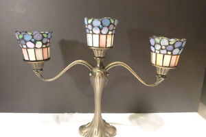 PartyLite Hydrangea Tiffany Style Stained Glass Candelabra
