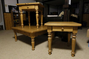COMPLETE SET: PINE COFFEE TABLE WITH MATCHING END TABLES
