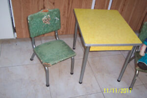 CHILDS CHROME TABLE-CHAIRS 1950'S