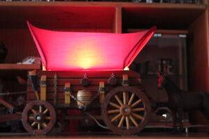1960's Hand Carved COVERED WAGON LAMP (View Other Ads)