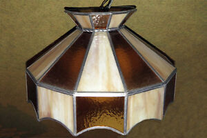 vintage glass and metal large pendant