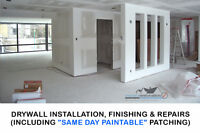 DRYWALL INSTALLATION AND FINISHING, PLASTER REPAIRS, PAINTING!