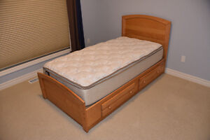 Twin Bed Frame with Bottom Drawers, Natural, Like New