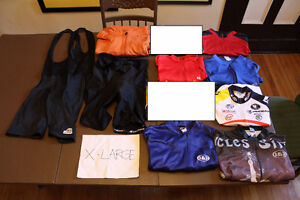 USED 6 pieces cycling jerseys MAILLOTS BIBS shorts S MED L XL