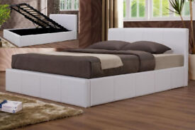 White, ottoman, storage, leather bed, double, hydraulic bed, quilted sprung mattress.
