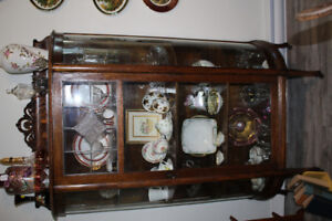 Antique Oak China Cabinet with Leaded Glass Curved Sides