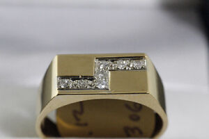 NEW 14K. YELLOW GOLD & DIAMOND MAN'S RING FOR SALE