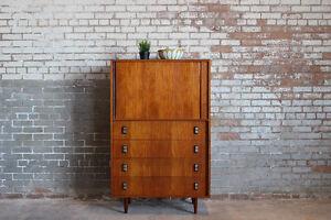 Refinished Mid-Century Modern Teak Tallboy Dresser