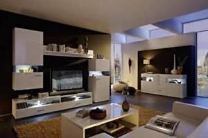 Living Room - Entertainment Area - 6 Piece White Set