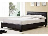 GERMAN LEATHER N WOOD DOUBLE LEATHER BED WITH ROYAL ORTHOPAEDIC MATTRESS !!SAME DAY EXPRESS DELIVERY