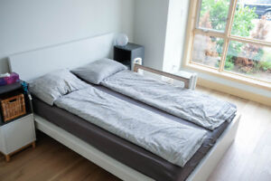 IKEA MALM Queen Bed White including slatted base, mattress etc