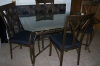 Glass Top Bronze Wrought Iron Dining Table with 4 chairs