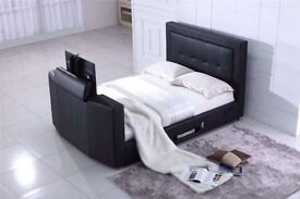 """BLACK FRIDAY SALE, SMART LEATHER TV BED HOLDS UP TO 40"""" TV"""