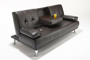 NEW DELUXE FUTON SOFA BED COUCH CUP HOLDERS FOLDING SOFA